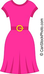 Pink dress icon isolated