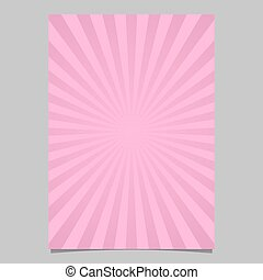 Pink dynamic burst card template - vector document background graphic with striped rays