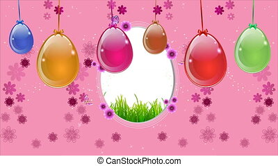 Pink easter background with a hanging egg