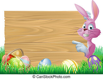 Pink Easter eggs sign Easter bunny - A cartoon pink Easter...