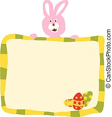 Pink Easter Rabbit With Sign