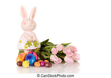Pink Easter tulips bunny