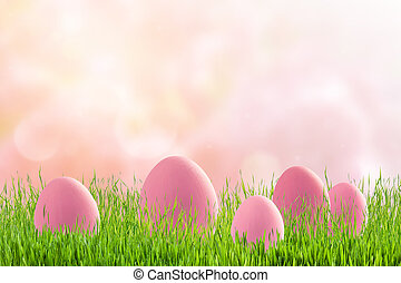 Pink eggs on easter holiday background