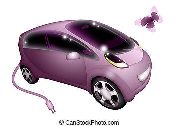 electric car - pink electric car on white background
