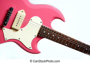 Pink Electric Guitar Isolated on White