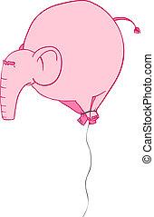 Pink Elephant as a balloon. Vector illustration.