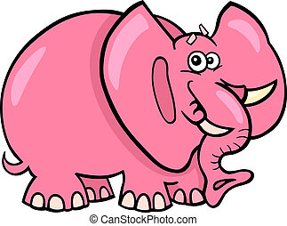 Pink Elephant Cartoon - Cartoon Humorous Illustration of...