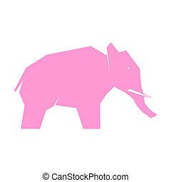 Pink elephant isolated on white