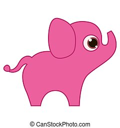 Pink Elephant isolated on white background. Print for T-shirt. Vector illustration