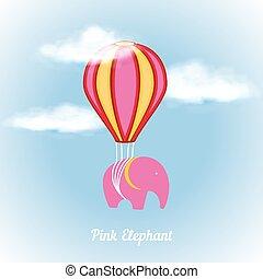 Pink elephant on air balloon vector illustration