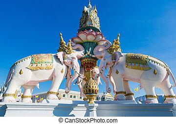 Pink elephant statue near Grand Palace or Wat Phra Kaew in Bangkok