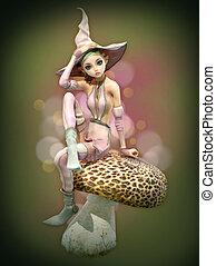 Pink Elf on a Mushroom, 3d CG
