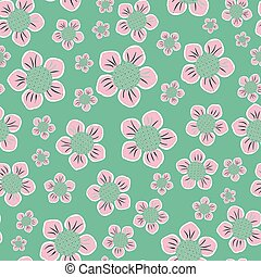 Pink en mint green seamless retro flowers repeat