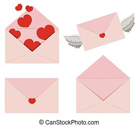 Pink envelopes with hearts and wings