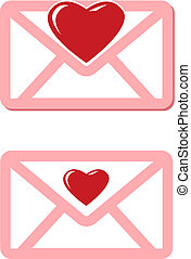 pink envelopes with red hearts