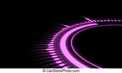 pink equalizer on a black background, circle rotation - pink...