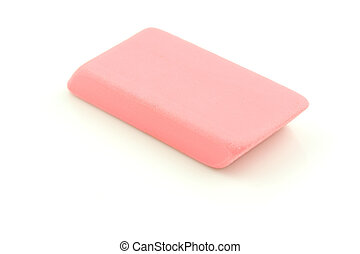 Pink Eraser - A photo of a pink eraser set against a white...