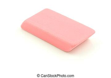 Pink Eraser - A photo of a pink eraser set against a white...