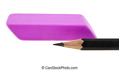 pink eraser and black pencil isolated on white background