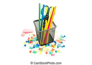pink erasers and other office stationery on white
