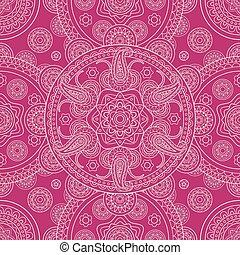 Pink ethnic ornate boho doodle seamless pattern