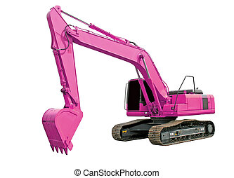 Pink excavator isolated over white background