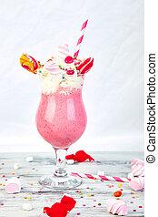 Pink Extreme milkshake with berry rasberry - Pink Extreme...