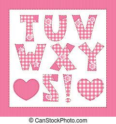 Pink fabric alphabet. Letters T, U, V, W, X, Y, Z