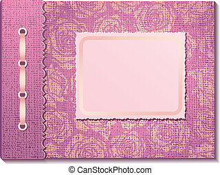 Pink fabric cover a photo album  on white background