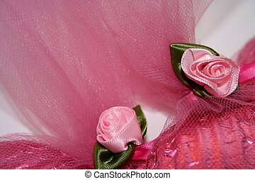 Pink Fabric Roses - closeup of pink ribbon roses and tulle