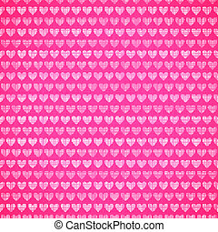 Pink fabric texture with heart seamless pattern. Vector...