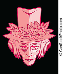 pink face with flower