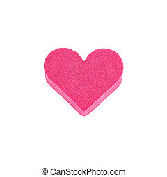 pink facial sponge isolated on white background, heart shape