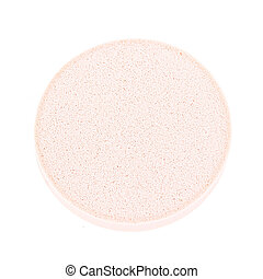 pink facial sponge isolated on white background