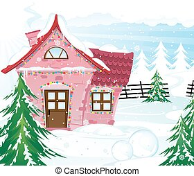Pink fairy house in winter forest