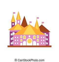 Pink fairy tale castle with golden roof vector illustration