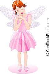 Pink Fairy - Vector Illustration of a pretty pink fairy. The...