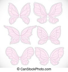 Pink fairy wings with dotted outline for cutting set 1 isolated on a white background