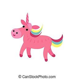 Pink fairytale unicorn with a rainbow mane cartoon vector Illustration