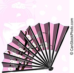 pink fan and face