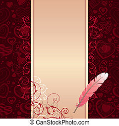 Pink feather and beige scroll on dark background with hearts