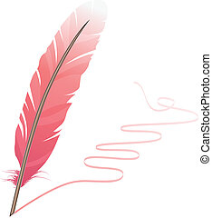 Pink feather and flourish isolated on white background