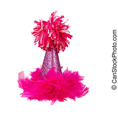 Pink Feather Birthday Party Hat - A sparkly pink birthday...
