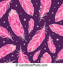 Pink feather pattern with stars