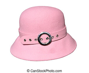 A pink felt hat with a buckle isolated with clipping path