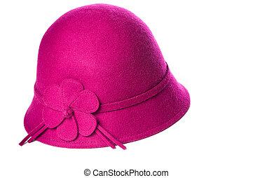 Pink felt hat on white background.
