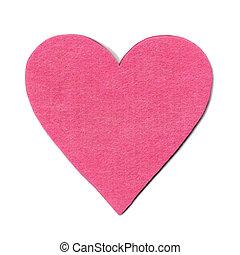 Pink felt heart on white background