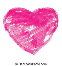 Pink Felt Pen Heart, vector illustration
