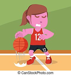 pink Female basketball player dribbling