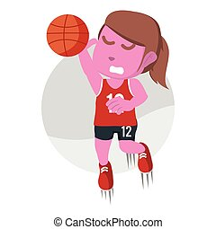 Pink female basketball player dunking